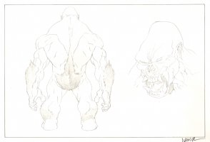 Revisioned: Tomb Raider Animated Series Character Design - Ape Monster - 2 Figures - Signed Comic Art
