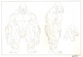 Revisioned: Tomb Raider Animated Series Character Design - Ape Monster - 3 Figures - Signed Comic Art