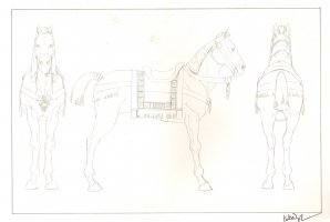 Revisioned: Tomb Raider Animated Series Character Design - Horse - Signed Comic Art