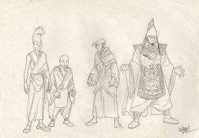 Revisioned: Tomb Raider Animated Series Character Design Layout - Monks and Old Wizard - 4 Figures - Signed Comic Art