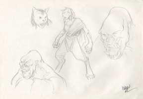 Revisioned: Tomb Raider Animated Series Character Design Layout - Ape and Cat Monster - Signed Comic Art