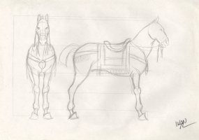 Revisioned: Tomb Raider Animated Series Character Design Layout - Horse - Signed Comic Art