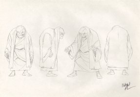 Revisioned: Tomb Raider Animated Series Character Design Layout - Old Scarred Monk - 4 Figures - Signed Comic Art