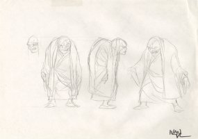Revisioned: Tomb Raider Animated Series Character Design Layout - Old Scarred Monk - 3 Figures - Signed Comic Art