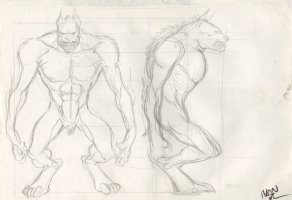 Revisioned: Tomb Raider Animated Series Character Design Layout - Giant Wolf Monster - 2 Figures - Signed Comic Art