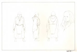 Revisioned: Tomb Raider Animated Series Character Design - Short Bald Monk - Signed Comic Art
