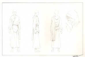 Revisioned: Tomb Raider Animated Series Character Design - Tall Bald Monk - Signed Comic Art