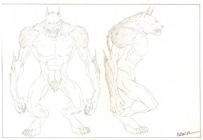 Revisioned: Tomb Raider Animated Series Character Design - Giant Wolf Monster - 2 Figures - Signed Comic Art