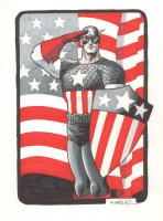 Captain America Saluting Color Commission - Signed Comic Art