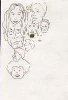 Ten Different Sized and Over Lapping Faces Comic Art