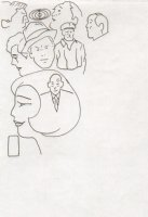 Seven People and Faces Over Lapping Faces with Two Shapes Comic Art