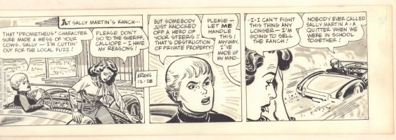 Roy Rogers Daily Strip - Sally Martin - 12/28/1960 Signed Comic Art
