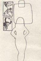 Female Silhouette - Russian Man and Mustash Man Comic Art