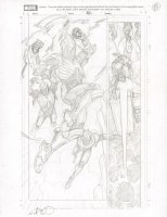 Marvel ? Interior p.8 Layout - Flying Action - Signed Comic Art