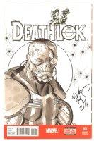 Deathlok #1 Blank Variant Cover Sketch - Great Deathlok Ink Wash - 2016 Signed Comic Art