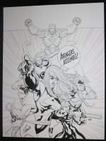 Mighty Avengers, The #1 Cover - LA - Ms. Marvel, Iron Man, Sentry, Wonder Man, Black Widow, Wasp, & Ares - ''Avengers Assemble!'' - 2007 Signed by Stan Lee!