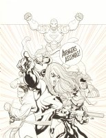 Mighty Avengers, The #1 Cover - LA - Ms. Marvel, Iron Man, Sentry, Wonder Man, Black Widow, Wasp, & Ares - ''Avengers Assemble!'' - 2007 Signed