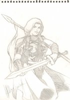 Valkyrie in Classic Costume Drawing - Signed Comic Art