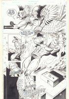Hawkworld #27 p.3 - Hawkman and Hawkwoman vs. White Dragon Splash - 1992 Signed Comic Art
