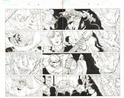 Mighty Avengers #19 pgs. 20 & 21 - Vision, Iron Man, Thanos, Death, Doctor Strange, Spider-Man, & Others DPS - 2008 Comic Art