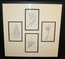 The Phantom Heroine, Supergirl, Yellowjacket, and Captain America Heroine Nudes Pencil Art from The Supergirls Calendar - 1973 Signed Comic Art