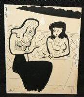 Women at a Lounge Table Gag - Signed Comic Art