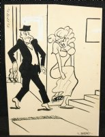 Woman with Cleates Gag - Signed Comic Art
