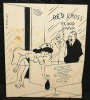 Red Cross Blood Blank Babe Gag - Signed Comic Art