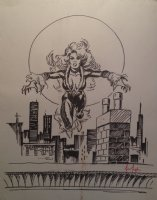 Black Cat with Skyline Background Piece - LA - Signed Comic Art