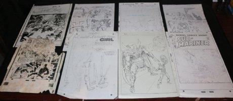 STAT (Not art) 8pc LOT - Covers & Splashes John Buscema, Marie Severin, Gil Kane Comic Art