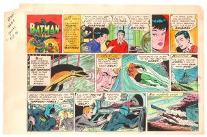Batman with Robin the Boy Wonder Sunday Strip Color Guide and Negative - Aquaman and Batman Swimming - 10/20/1960's Comic Art