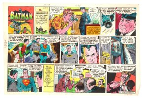 Batman with Robin the Boy Wonder Sunday Strip Color Guide and Negative - Superman - 4/7/1960's Comic Art