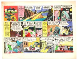 Batman with Robin the Boy Wonder Sunday Strip Color Guide and Negative - Batman and Girl Escape in Mustang - 1960's Comic Art