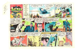 Batman with Robin the Boy Wonder Sunday Strip Color Guide and Negative - Clark Kent in Peril - 7/21/1960's Comic Art