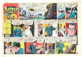 Batman with Robin the Boy Wonder Sunday Strip Color Guide and Negative - Clark Kent - 7/14/1960's Comic Art
