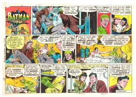 Batman with Robin the Boy Wonder Sunday Strip Color Guide and Negative - Batman Face / Off! - 1/12/1960's Comic Art