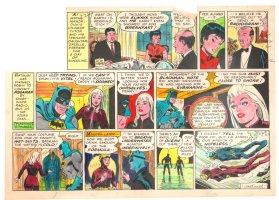 Batman with Robin the Boy Wonder Sunday Strip Color Guide and Negative - Batman Scuba Diving - 1960's Comic Art