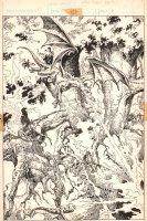 Weirdworld #? p.16 - Crazy Dragon Battle 100% Splash - 1980's Signed Comic Art
