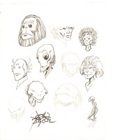 15 Portraits Double Sided - Lots of Aliens - Signed Comic Art