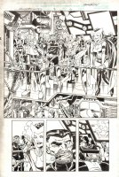 Avengers United They Stand #2 p.6- Nick Fury, Hawkeye, Scarlet Witch, & Others Splash in Bruce Timm Style - 1999 Signed Comic Art