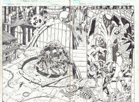 Deadpool #12 pgs. 2 & 3 - Man-Thing, Frankenstein, Werewolf by Night, & Son of Satan DPS - 2015 Comic Art