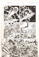Deadpool #20 p.20 - Deadpool, Odin, Watcher, Fin Fang Foom, Things on Easter Island, & Mangog in a Kirby-esque Asgard - 2014 Signed Comic Art