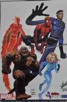 Fantastic Four + Spider-Man Print ~ Signed by Stan Lee 2011 Comic Art