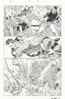 Avengers vs. X-Men #4 p.10 - Namor the Sub-Mariner, The Thing, and Luke Cage Fighting - 2012 Signed Comic Art