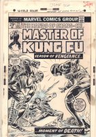 Master of Kung Fu #21 Cover -Shang Chi vs. Two Unnamed Assassins - 1974 Comic Art