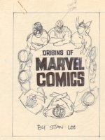 Origins of Marvel Comics by Stan Lee Cover Prelim - Spider-Man, Thor, & Others - 1974 Comic Art