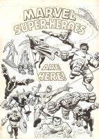 Marvel Superheroes Are Here! Blacklight Poster - Silver Surfer, Iron Man, Dr. Strange, Human Torch, Hulk, Thor, Captain America, Spider-Man - 1974 Signed