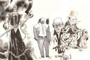 Convention Jam Piece - Walking Dead Artists! - Ventriloquist and Scarface by Charlie Adlard - Nekron by Tony Moore Comic Art