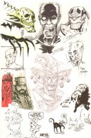 Convention Jam Piece - Thanos by Ron Lim - Sketches by Steve Mannion, Dan Brereton, and Others Comic Art