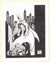 Batman with Gotham Background and the Tumbler Commission - Signed Comic Art